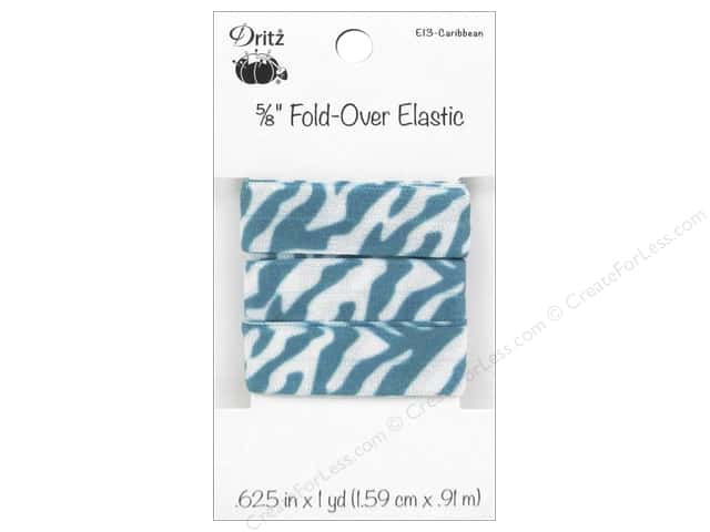 Fold-Over Elastic by Dritz 5/8 in. x 1 yd. Zebra Caribbean