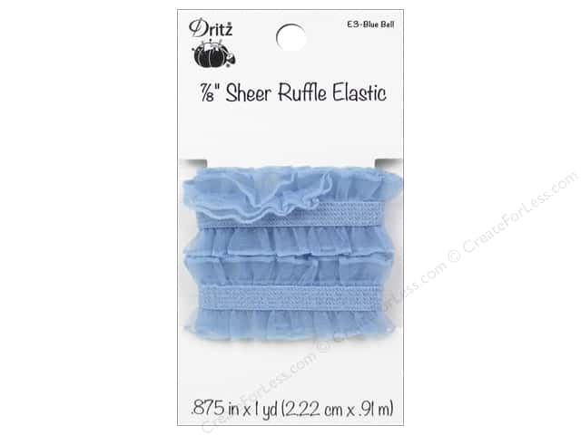 Sheer Ruffle Elastic by Dritz 7/8 in. x 1 yd. Blue Bell