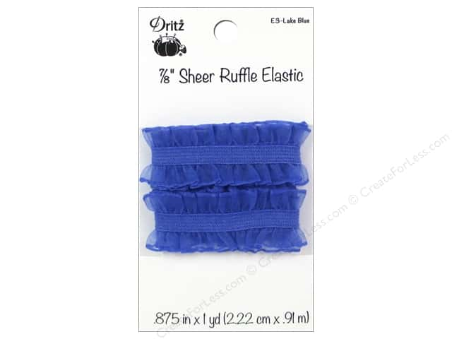 Sheer Ruffle Elastic by Dritz 7/8 in. x 1 yd. Lake Blue