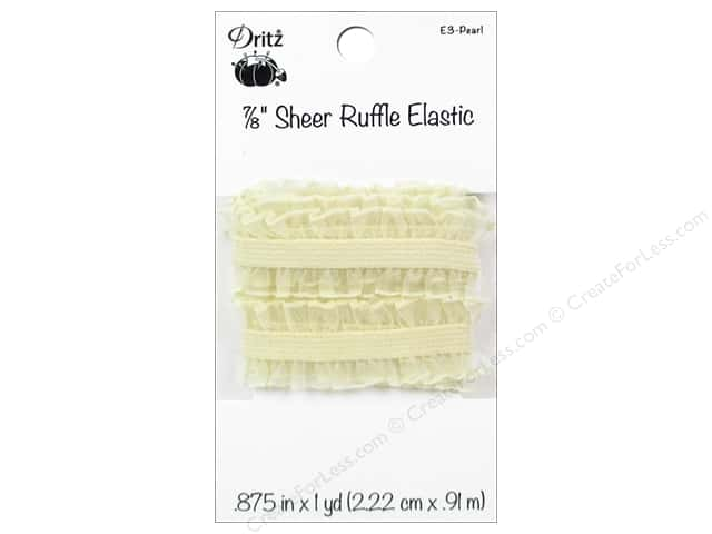 Sheer Ruffle Elastic by Dritz 7/8 in. x 1 yd. Pearl