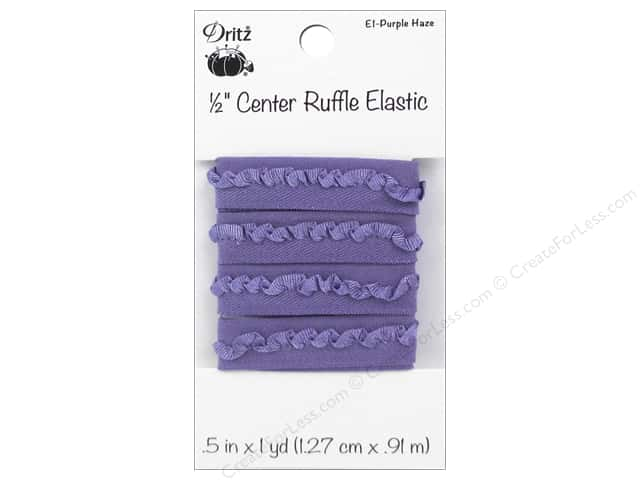 Center Ruffle Elastic by Dritz 1/2 in. x 1 yd. Purple Haze