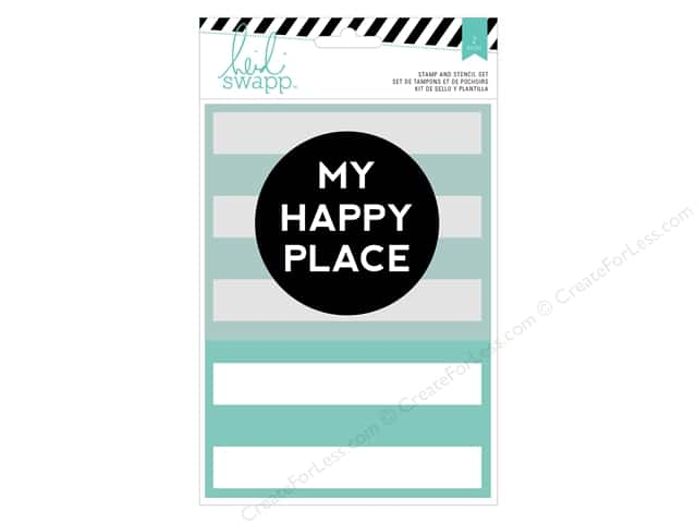 Heidi Swapp Wanderlust Stamp & Stencil Set My Happy Place