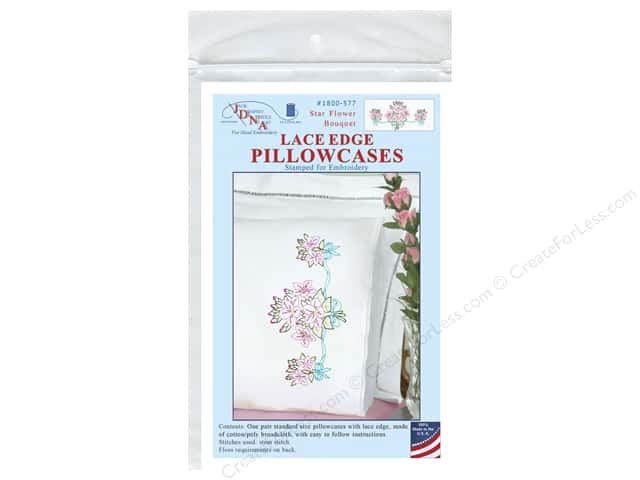 Jack Dempsey Pillowcase Lace Edge White Star Flower Bouquet