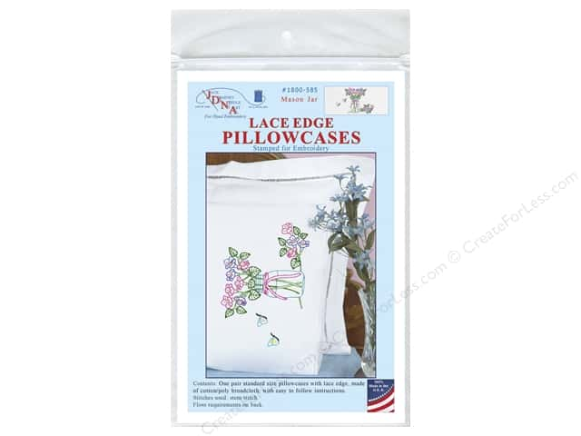 Jack Dempsey Pillowcase Lace Edge White Mason Jar