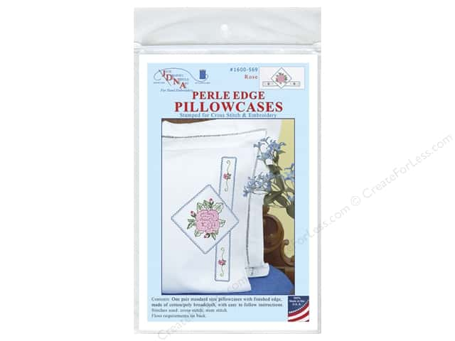 Jack Dempsey Pillowcase Perle Edge White Rose