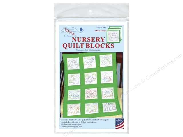 Jack Dempsey 9 in. Quilt Blocks 12 pc. Dinosaurs