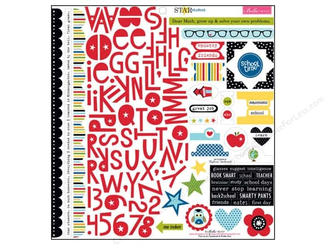 Bella Blvd Stickers Star Student Treasures & Text (12 sets)