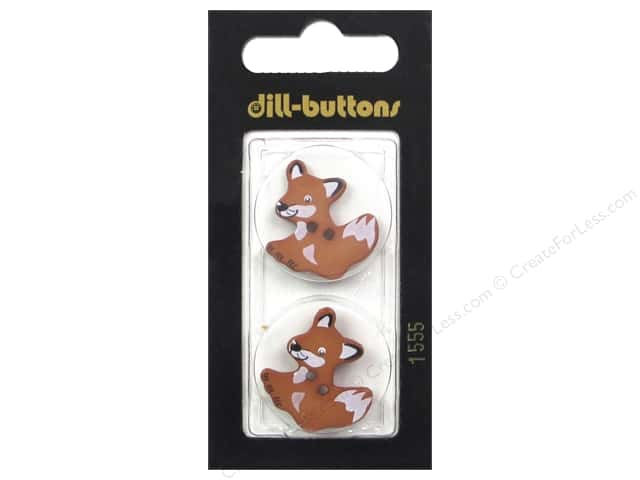 Dill 2 Hole Buttons 1 in. Brown Fox #1555 2 pc.