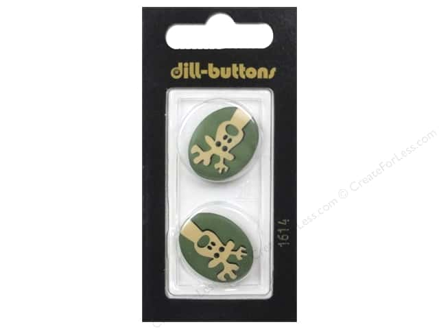 Dill 2 Hole Buttons 7/8 in. Green & Tan Reindeer #1614 2 pc.