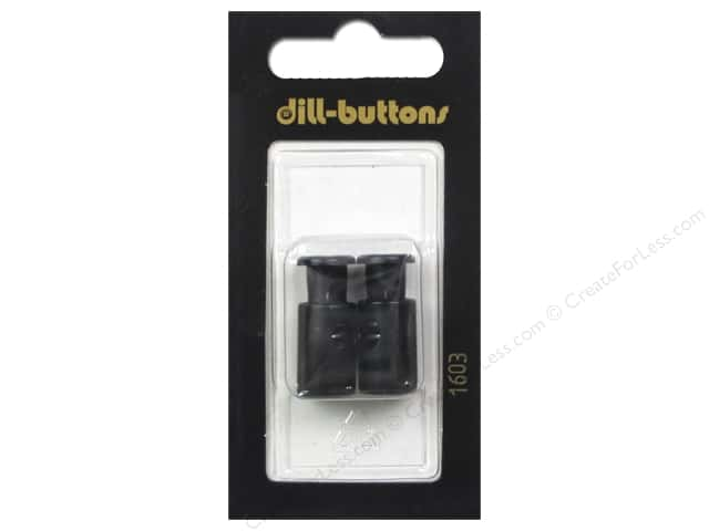 Dill Buttons Cord Stoppers 7/8 in. Black #1603 2 pc.