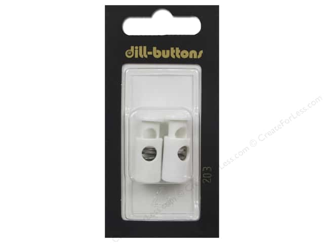 Dill Buttons Cord Stoppers 7/8 in. White #203 2 pc.
