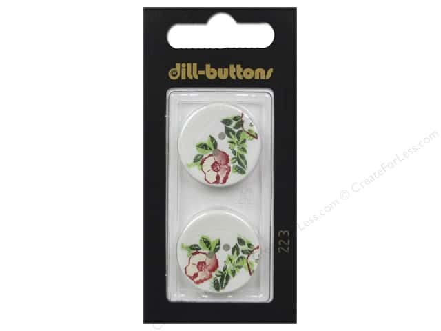 Dill 2 Hole Buttons 7/8 in. White #223 2pc.