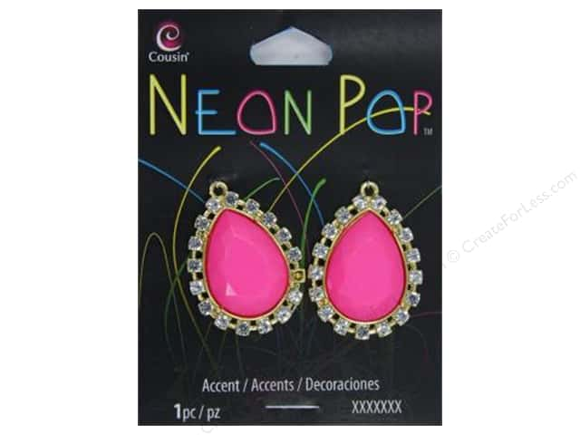 Cousin Neon Pop Collection Teardrop Accent Rhinestone Pink/Gold 2pc