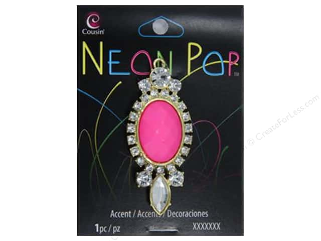 Cousin Neon Pop Collection Oval Rhinestone Accents Pink/Clear