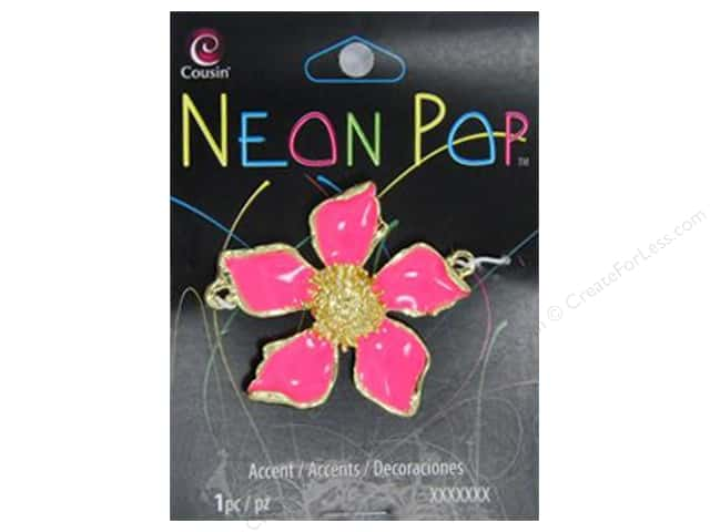Cousin Neon Pop Collection Flower Enamel Gold/Pink