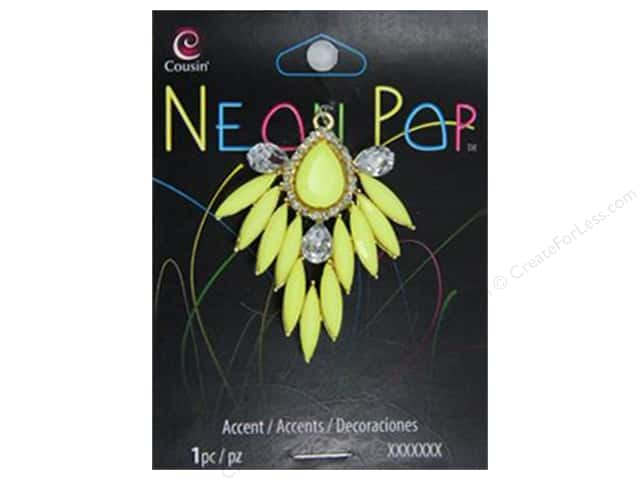 Cousin Neon Pop Collection Rhinestone Accents Yellow/Clear