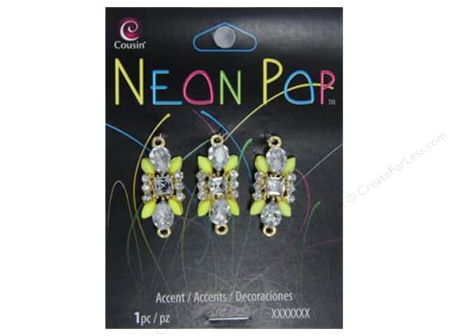 Cousin Neon Pop Collection Connector Rectangle Yellow/Clear 3pc