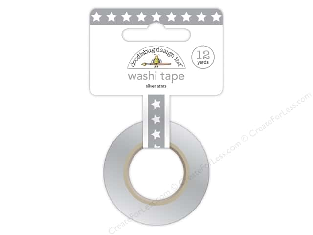 Doodlebug Washi Tape 1/4 in. x 12 yd. Patriotic Picnic Silver Star