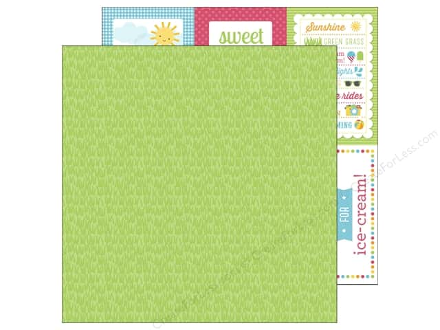 Doodlebug 12 x 12 in. Paper Sunkissed Grass Green (25 sheets)