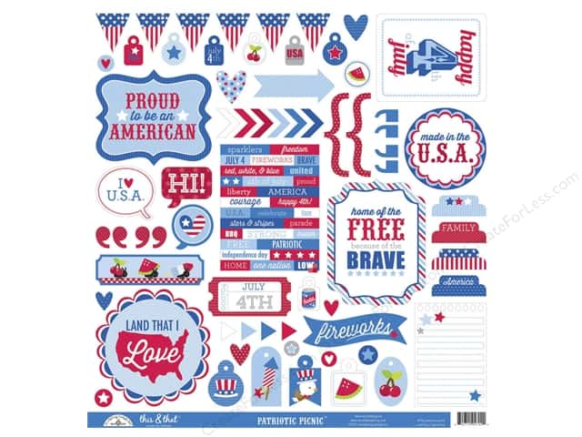 Doodlebug Sticker Patriotic Picnic Collection This & That (12 sheets)