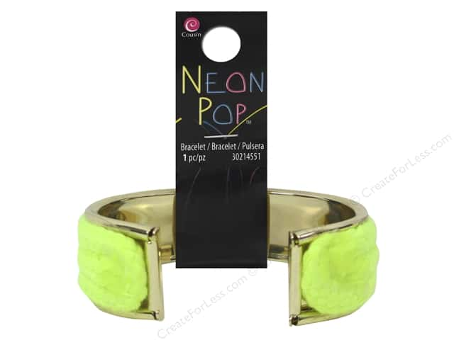 Cousin Neon Pop Collection Cuff Bracelet Yellow/Gold