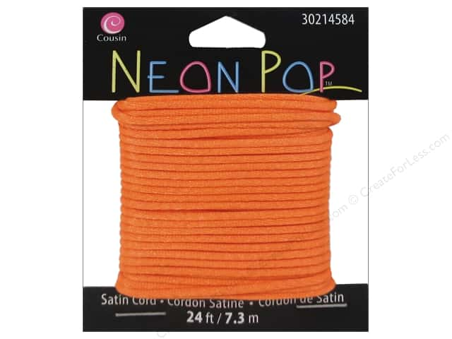 Cousin Neon Pop Collection Satin Cord Orange 24ft