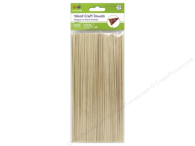 Craft Medley Wood Dowel 7 3/4 x 1/16 in. Natural 150 pc.
