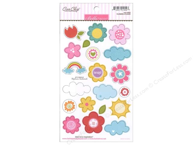 Bella Blvd Chipboard Icons Flowers & Clouds