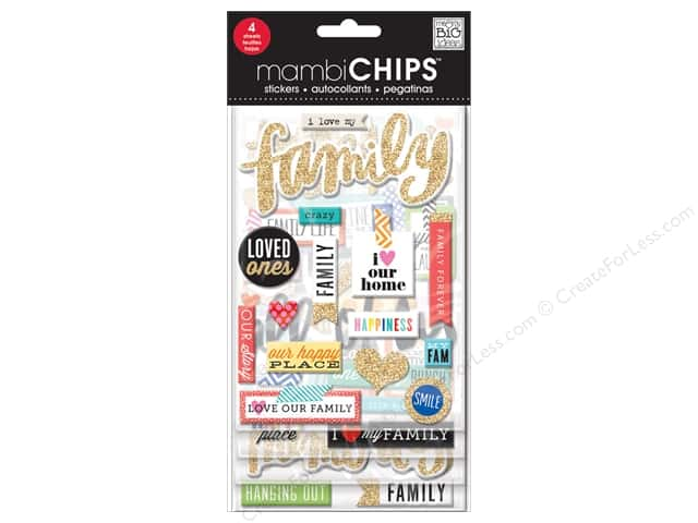 Me&My Big Ideas Sticker Designer Chipboard Chips I Love My Family
