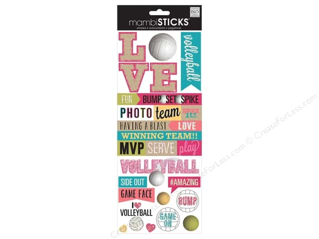 Me & My Big Ideas Sticks Stickers Love Volleyball
