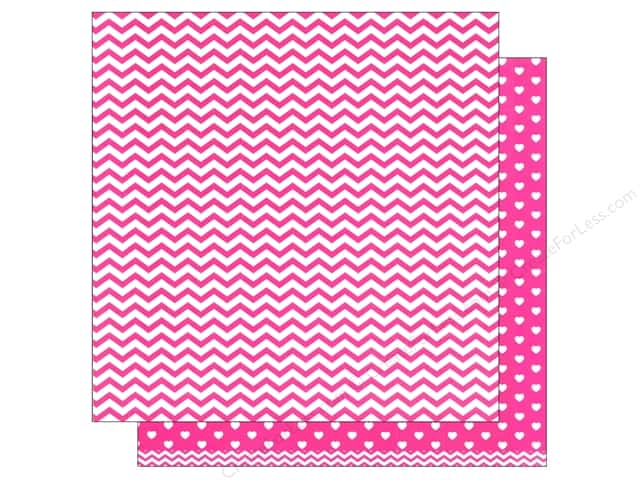 American Crafts 12 x 12 in. Paper Basics Chevron Pink (12 sheets)