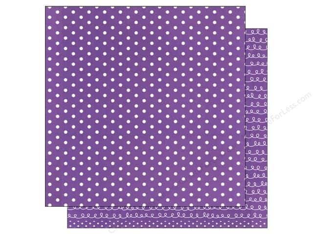 American Crafts 12 x 12 in. Paper Basics Dots Purple (12 sheets)