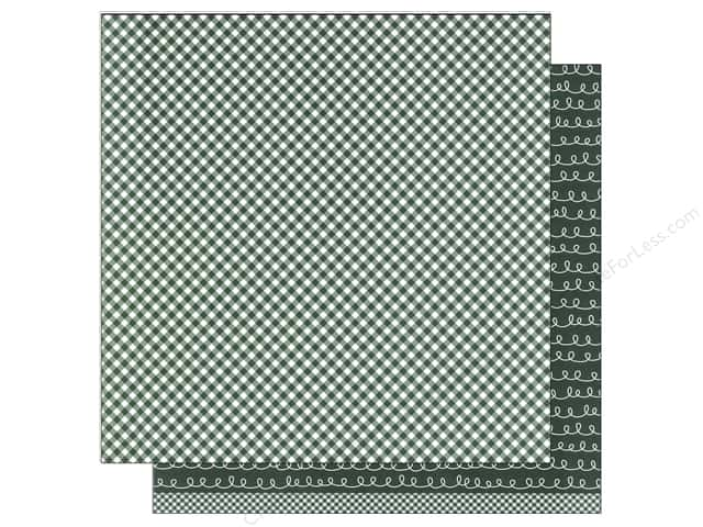 American Crafts 12 x 12 in. Paper Basics Gingham Evergreen (12 sheets)