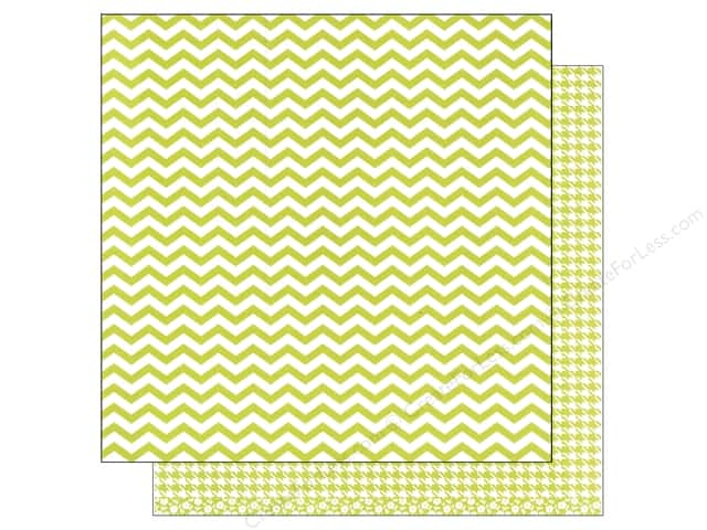 American Crafts 12 x 12 in. Paper Basics Chevron Lime (12 sheets)