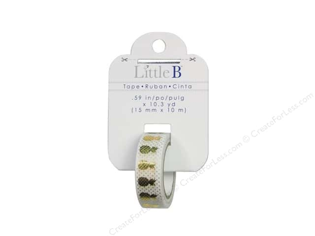 Little B Decorative Paper Tape 5/8 in. Gold Foil Pineapple