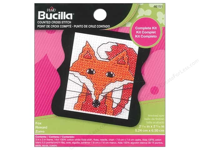 Bucilla Counted Cross Stitch Kit 3 in. Mini Fox