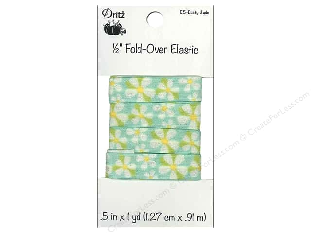 Fold-Over Elastic by Dritz 1/2 in. x 1 yd. Floral Dusty Jade