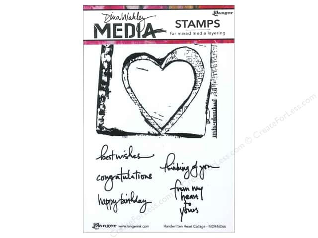 Ranger Dina Wakley Media Stamp Handwritten Heart Collage