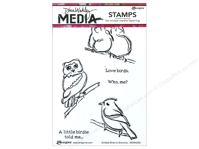 Ranger Dina Wakley Media Stamp Scribbly Birds On Branches