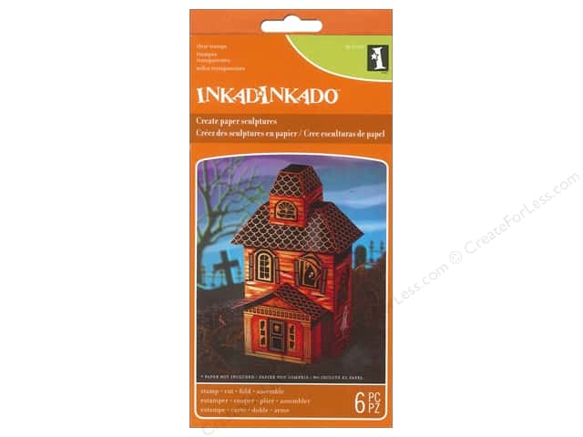 Inkadinkado Clear Stamp Paper Sculpture Set Haunted House