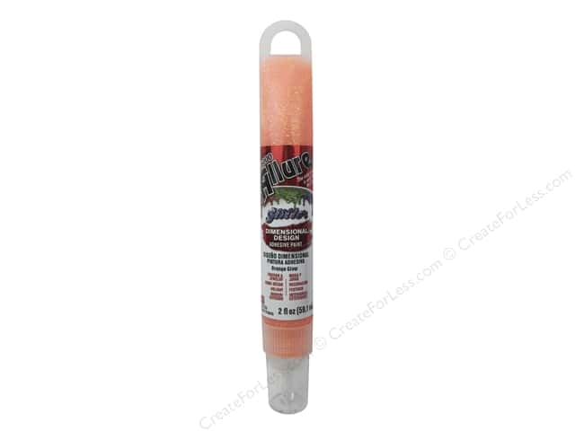 Eclectic Allure Dimensional Design Adhesive Paint 2 oz. Glitter Orange Glow Tube