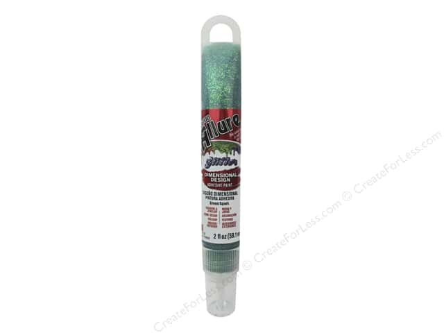 Eclectic Allure Dimensional Design Adhesive Paint 2 oz. Glitter Green Spark Tube