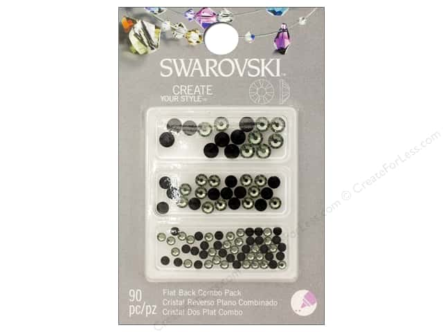 Cousin Swarovski Flatback Rhinestone Mix 90 pc. Jet/Black Diamond