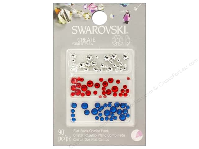 Cousin Swarovski Flatback Rhinestone Mix 90 pc. Patriot Blend