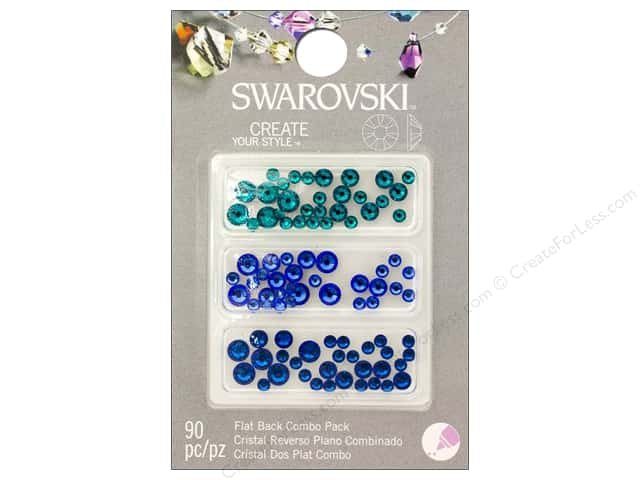 Cousin Swarovski Flatback Rhinestone Mix 90 pc. Sea Blues