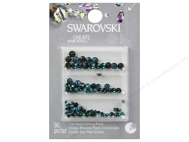 Cousin Swarovski Flatback Rhinestone Mix 90 pc. Emerald/Blue Zircon