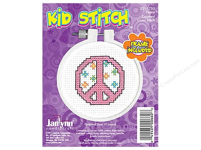Janlynn Kid Stitch Cross Stitch Kit 3 in. Peace Sign