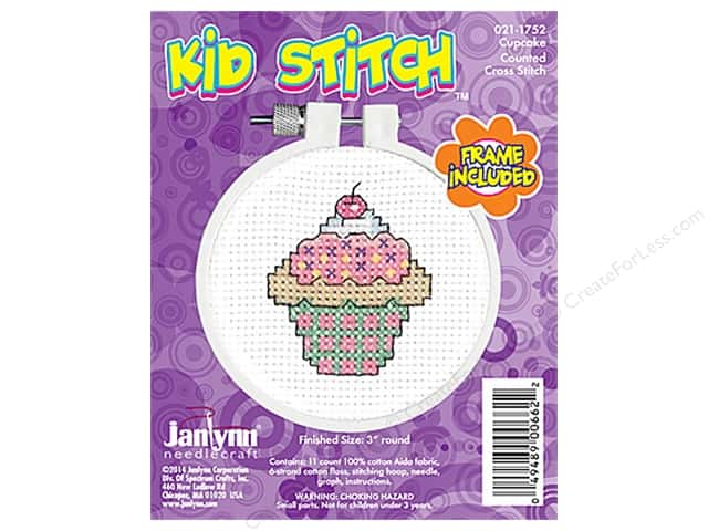 Janlynn Kid Stitch Cross Stitch Kit 3 in. Cupcake