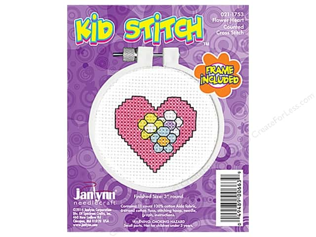Janlynn Kid Stitch Cross Stitch Kit 3 in. Heart