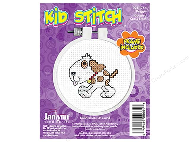Janlynn Kid Stitch Cross Stitch Kit 3 in. Doggy